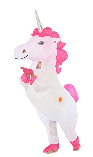FUNNY COSTUMES Unicorn Inflatable Costume for Adult (Unicorn Silver-Horn Large)