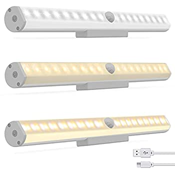 LED Closet Light 36 LED Under Cabinet Lighting 3 Modes Rechargeable Motion Sensor Closet Lights with Magnetic Stick USB Rechargeable Homelife LED Bars for Wardrobe Stair Corridor  3 Pack