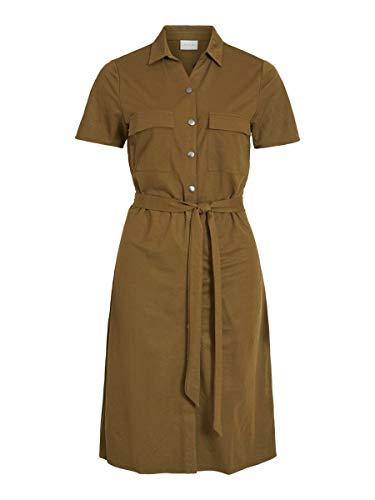 Vila Visafina S/S tröja Dress-Noos klänning, Mörk oliv, M