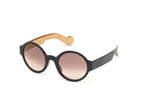 MONCLER ML 0097 05G - Gafas de sol, color negro brillante y dorado, lentes marrón degradado W. Fla