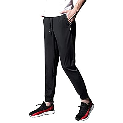 Ancient Star Mens Hiking Joggers Sweatpants Light Breathable Quick Dry Running Sports Pants with Zipper Pockets(3509Black S)