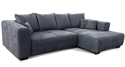 Cavadore Ecksofa Mavericco / XXL Eckcouch Inkl. Rückenkissen und Zierkissen / Longchair rechts / Industrial Style / 285 x 69 x 170 (BxHxT) / Mikrofaser Grau