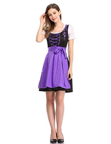 Clearlove Limitierte Traditionelle Dirndl Damen Kleider Bluse Schürze - Violett - X-Groß