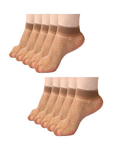 Sourcingmap 10 Paar Damen Gepunktetes Muster Knöchellang Dehnbar Schier Socken Braun