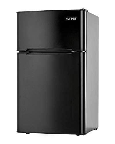 3.2 Cu.Ft MINI Compact Refrigerator for Dorm,Camper,Garage, Basement or Office, Double Door Refrigerator and Freezer(Black)