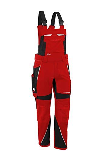 Grizzlyskin Latzhose Iron Rot/Schwarz S52 - Workwear Arbeitshose für Männer & Damen, Unisex Blaumann, Codura-Schutzhose mit vielen Taschen
