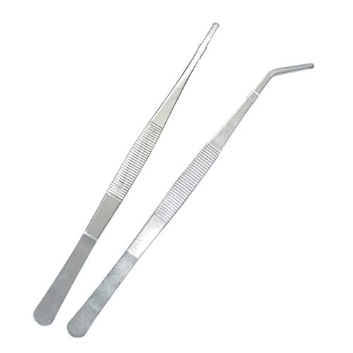 Easeen 2 Pcs Straight and Curved Tip Tweezers, Stainless Steel Precision Tweezers Set for Repairing, Feeding Reptile, DIY Craft, Tea Cup Cleaning and Landscape
