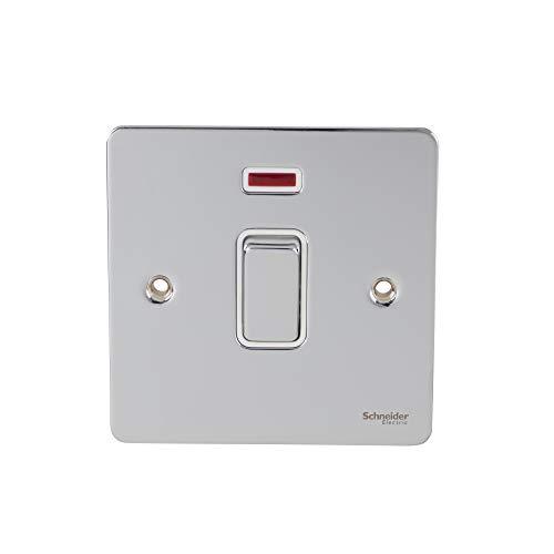 Schneider Electric Ultimate Flat Plate - Interruptor de luz individual, con indicador de neón, doble poste, 32A, GU4231WPC, cromo pulido con inserto blanco