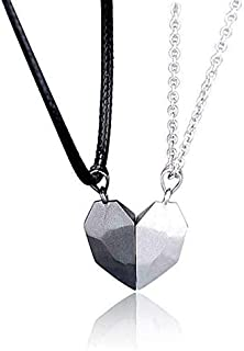 2-piece setLovers Heart Pendant Couple Strong Magnetic Distance Heart Necklace Attract and guard each other