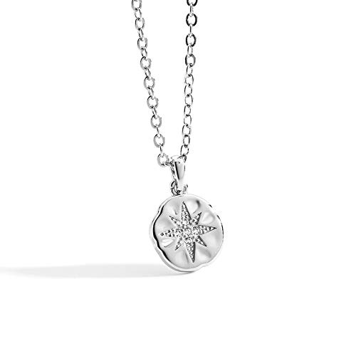 Cakunmik Girl's Necklace, Vintage Star Necklace Six-Pointed Star Zircon Necklace, Female European And American Feminine Pendant Gift for Girlfriend with Accessories,Silver
