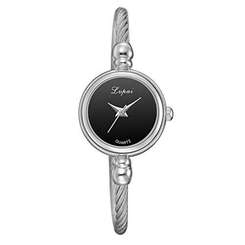 Powzz - Reloj inteligente retro con correa de reloj de pulsera y cadena fina de aleación de moda Watch-P544, color plateado y negro