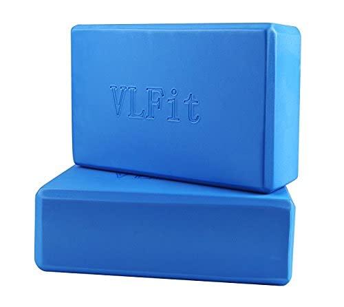 VLFit Lot de 2 Briques de Yoga de Choix de Couleur- (2 PC) Bloc en Mousse EVA (Bleu)
