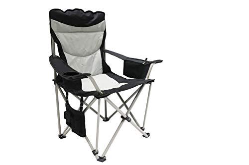 Homecall - Silla redonda de camping plegable con bolsillo-nevera y bolsa para revistas (negro/crema)