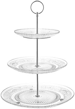 Royalty Art 3 Tiered Serving Stand Glass Beautiful Elegant Dishware Serve Snacks Appetizers product image