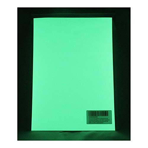 lumentics Premium Leuchtaufkleber GelbGrün A4 - Im Dunkel leuchtende Leuchtfolie. Nachleuchtende UV Farbfolie zum basteln und Bedrucken. Klebefolie für Wand-Tattoo, Wand-Aufkleber und Wand-Sticker.