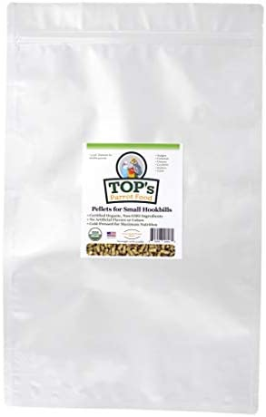 TOP's Parrot Food Bird Pellets for Small Hookbills - Non-GMO, Peanut Soy & Corn Free, USDA Organic Certified