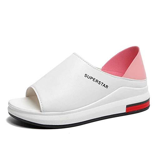 Dames Sport Sandalen Mode Gemengde Kleuren Slip Op Vis Mondschoenen Antislip Platform Strand Loafers Zomer Casual Open Teen Wedge Sneakers