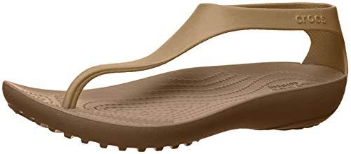 Crocs Women's Serena Flip Flop, Bronze/Bronze, 7 M US