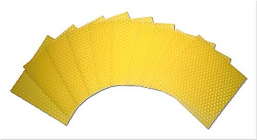 10 Stück Bienenwachsplatten, Bienenwachs für Kerzen zum Kerzenrollen und Basteln (100 x 100 mm, Gelb)