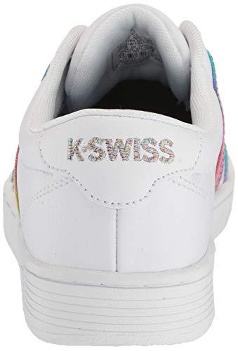 K-Swiss Women's Court PRO II CMF Sneaker, White/Rainbow, 7.5 M US Michigan