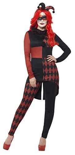 Halloween! Smiffys Harlekin-Kostüm, Schwarz & Rot, mit Overall, Kragen & Hut