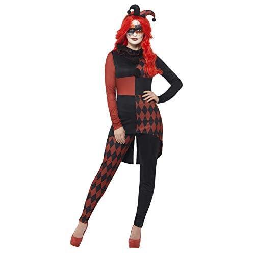 Smiffys Costume Arlecchino, Rosso e nero, con tuta, colletto e cappello
