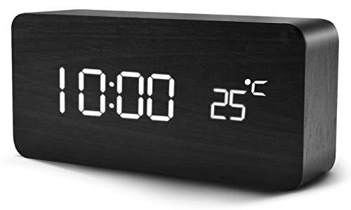 Digitaler Wecker, Chalpr Wecker Digital mit Tonsteuerung und Temperaturanzeige, Holzwecker mit 5 Helligkeit, Snooze Digitaler Wecker Holz mit 12/24 Stunden für Schlafzimmer, Büro (Schwarz+Weiß)
