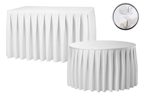 Accordion Pleat White Table Skirt Free Clips Polyester Wedding Christmas Party Catering Hotel Decoration 14FT 17FT 21FT (17FT)