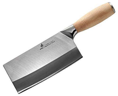 ZHEN Japanese VG-10 3-Layer Forged High Carbon Stainless Steel Medium Duty Cleaver Chef Butcher Chopping Knife(Bone Chopper), 6.5-inch, OAK Handle