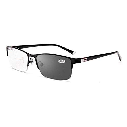Gafas de lectura multifoco progresivas para hombres, lentes de resina con montura de metal, gafas para computadora con luz azul, gafas de sol fotocromáticas, dioptrías de +1.0 a +3.0,Negro,+2.0