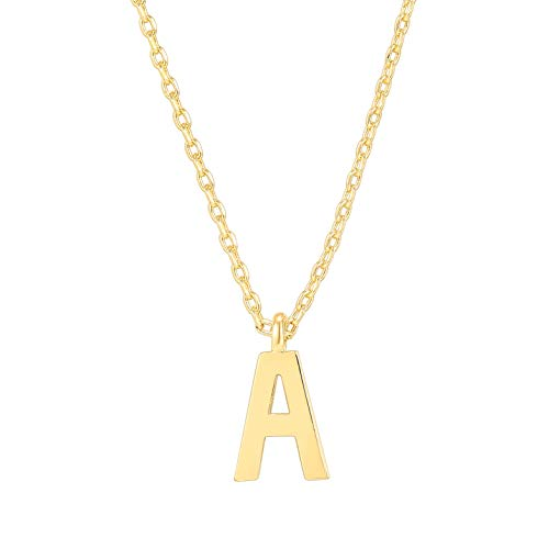 PAVOI 14K Yellow Gold Plated Initial Necklace | Letter Necklaces for Women | A Initial