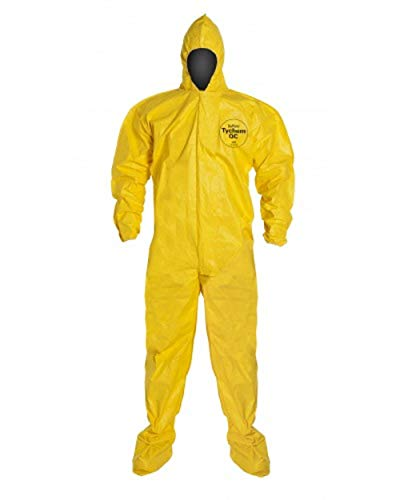DuPont Tychem 2000 QC122B Disposable Chemical Resistant Coverall with Hood and Elastic Cuff, Yellow Size 2XL Bound Seams 1 Pack