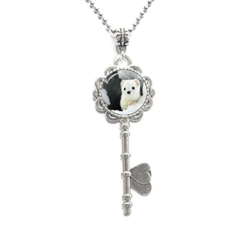 Collana con ciondolo a forma di gatto con ciondolo a forma di gatto e ciondolo a forma di chiave, regalo per gli amanti degli animali, gioielli per gli amanti dei gatti, N008