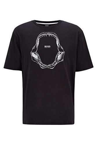 BOSS Herren Tima 2 Relaxed-Fit T-Shirt aus Pima-Baumwolle mit Haifischkiefer-Print