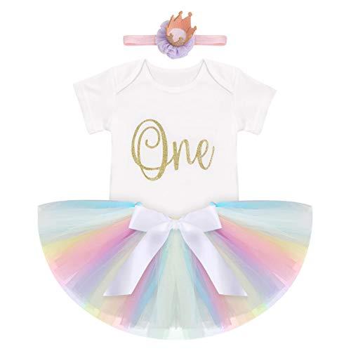 FYMNSI Conjunto de ropa para niña de primer cumpleaños con falda de tul con cinta para la cabeza, 3 piezas, para sesiones fotográficas Y# dulces. 9-12 meses