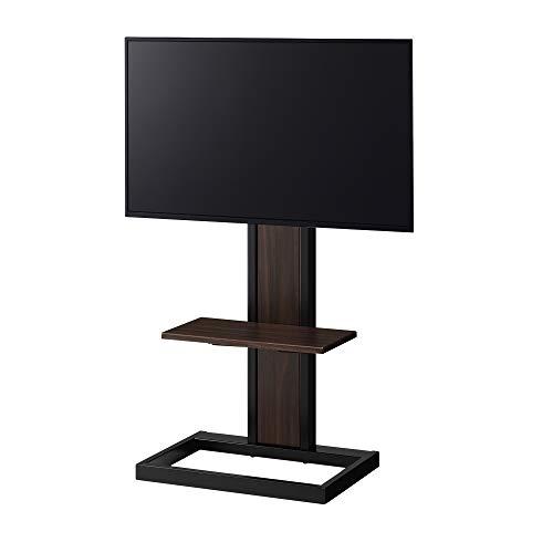 ハヤミ壁寄せテレビスタンド~43V型対応パイプと木を組み合わせたハイブリットデザインブラックKF-240B