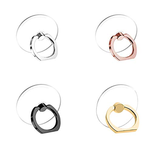 Cell Phone Ring Holder Stand 4 Pack Transparent Phone Ring Holder Universal 360° Degree Rotation Finger Ring Kickstand Compatible Various Mobile Phones or Phone case