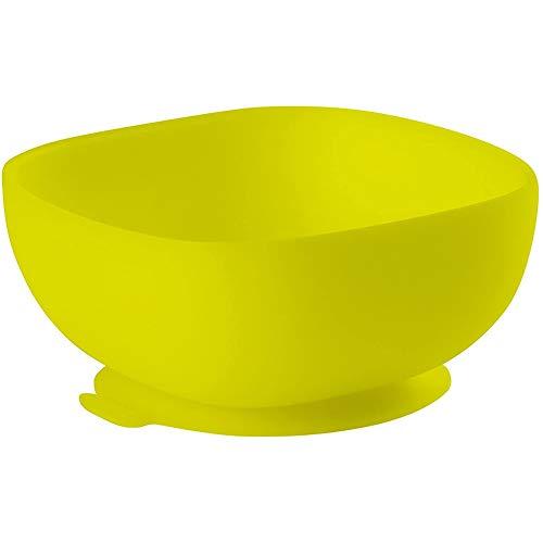 BÉABA Bol de Silicona con Ventosa, Cuenco para Bebés y Niños, Antideslizante, Antivuelco, Se adhiere a la perfección a la mesa y bandeja de la trona, Microondas, Comida Infantil, Amarillo