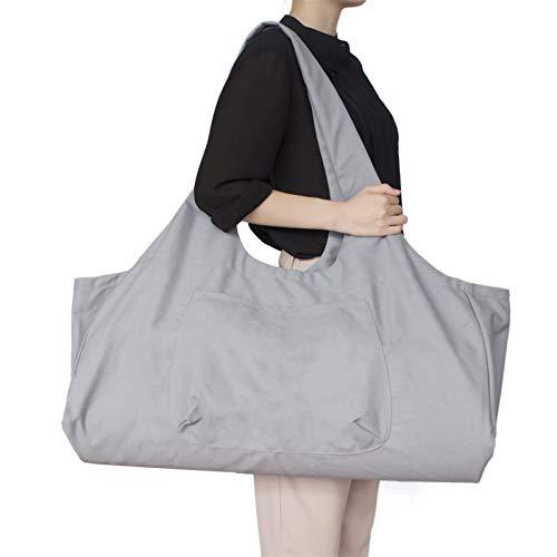 JLDUP Große Kapazität Bohemian Ethnic Style Print Canvas Yoga Tasche All-in-One Yoga Matte Tasche mit Taschen (grau, M)