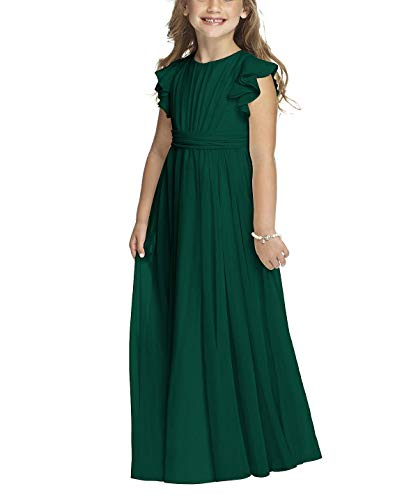 Castle Fairy Girls Holy Communion Long Gowns Pageant Junior Bridesmaid Evening Dresses (10, Dark Green)