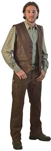 La Chasse Lederhose aus Büffelleder mit Beintasche für Herren strapazierfähig Trachtenhose Büffellederhose Jagdlederhose Herrenhose mit ausknöpfbarem Innenfutter (52, Braun)