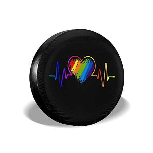 Reserveradabdeckung LGBT Rainbow Heartbeat Universal Fit Spare Tire Cover Waterproof Keeps Dirt Rain and Sun Away from Your Spare Tire