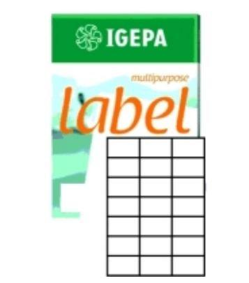 Igepa Label Multipurpose Etiketten 70 x 42,3 mm Papier permanent haftend für Laser- und Injektdrucker sowie Kopierer 100 Blatt A4 / 2100 Etiketten