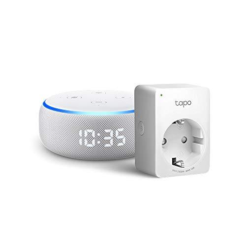 Echo Dot (3ª generazione) - Altoparlante intelligente con orologio e Alexa +Tapo P100 Presa intelligente Wi-Fi, compatibile con Alexa
