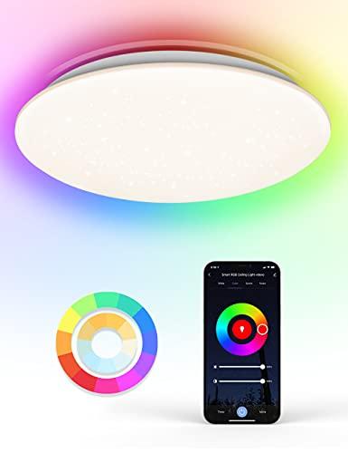 WiFi Plafon Led Techo, Maxcio 24W Lámpara de Techo con Decoración de Estrellas Control de App y Alexa/Google Home, con Luz Regulable RGBCCT 3000-6500k, IP54 Plafones Led Redonda para Habitaciones