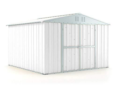 Notek Box in Acciaio Zincato Casetta da Giardino in Lamiera 3.27 x 3.07 m x h2.17 m - 145 kg – 9,4 Metri Quadri – Bianco