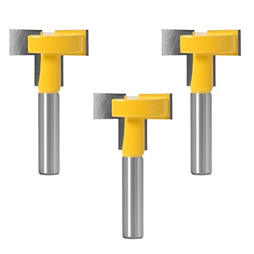 CJBIN Fresa de ranura en T M8, 3 unidades en T de ranura en T, para trabajos de madera, con vástago de 8 mm para carpintería