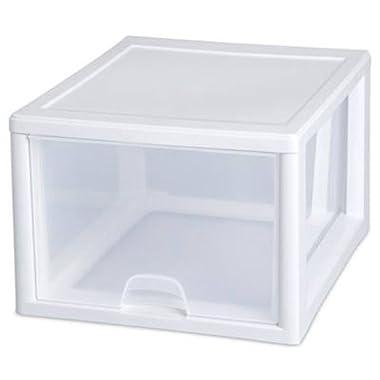 Sterilite 23108004 27 Quart/26 Liter Stacking Drawer, White Frame with Clear Drawers, 4-Pack