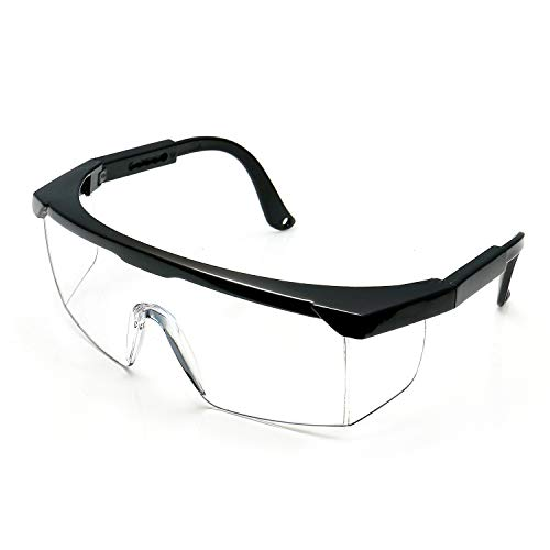 Safety Goggles with Anti-fog lens Industrial Goggles with Adjustable fame Goggles UV400 Protection (Black frame&Transparent lens)