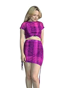 Women Snakeskin Print Crop Top Lace Up Mini Skirt Outfit 2 Piece Neon Bodycon Clubwear L Purple